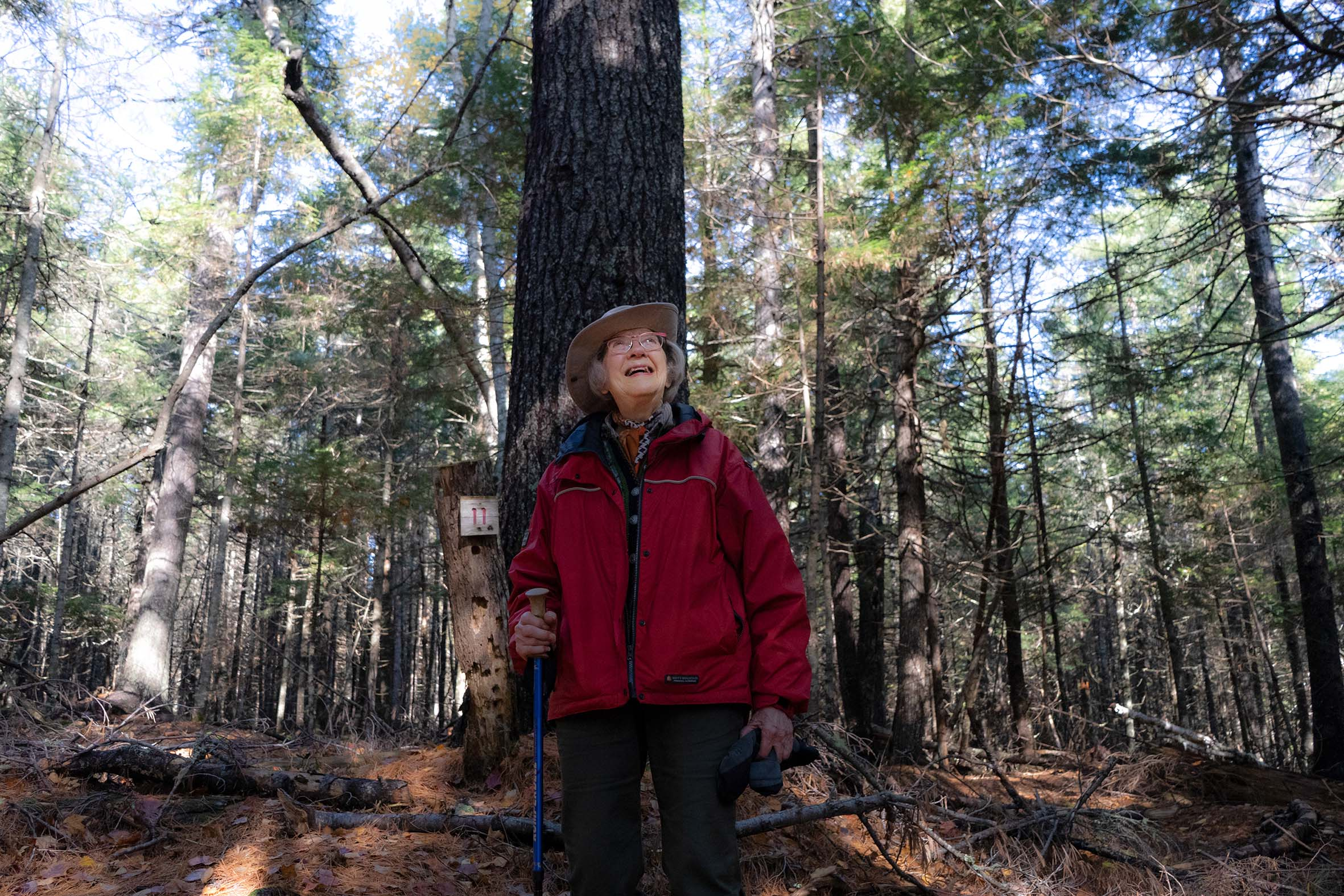 A woman stands in her forest in front of a large pine.